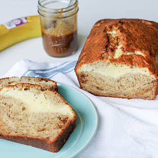 Cream Cheese Filled Banana Bread with Caramel Sauce.