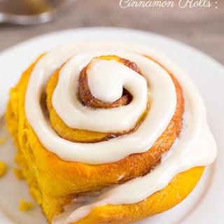 Pumpkin Cinnamon Rolls with Cream Cheese Icing