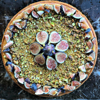 Fig Pistachio Honey Goat Cheese Cheesecake.