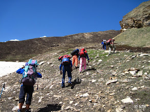Photo: Last one hour steep ascent to Camp-I site