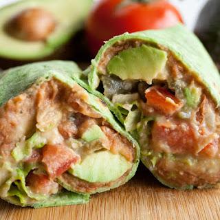 Vegan Refried Bean Burrito with Jalapeño Cilantro Hummus.