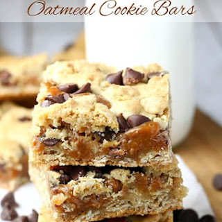 Dulce de Leche Oatmeal Chocolate Chip Cookie Bars.