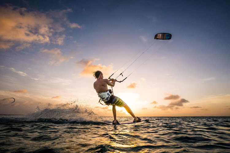 Kitesurfing is a popular pastime along the coastline of Bonaire.