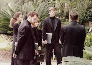 Photo: Nov. 1994: Rollins College; Mannerist Mania concert performed for the statewide American Choral Directors Association. Shawn, Becky, Solveig, Tom, David.