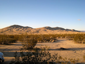 Photo: We reach the trailhead, hop into the vehicles and drive a mile or so to this small campground. Hard to believe that a few minutes ago, we were at the top of the tallest of the dunes on the left. Later, we'd be joined by a couple from Germany and their baby.