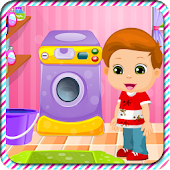 Little Kid Washing Clothes