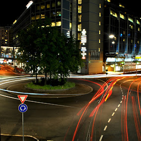 by Jade Newman - City,  Street & Park  Street Scenes ( roundabout, light trail, oslo, night, norway )