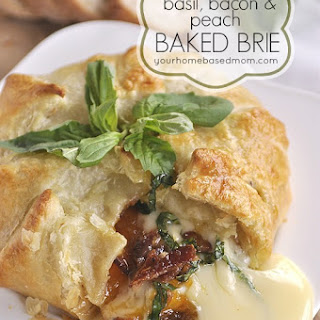 Basil, Bacon & Peach Baked Brie