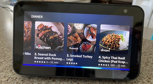 Recipe list on the Echo Show