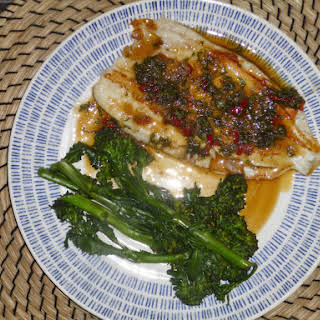 Seared Lemon Sole with a Lime, Chilli and Thai Basil Sauce.