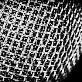When Sound Gets Out by Steven Santamour - Black & White Macro ( music, macro, patterns, microphone, black and white, metal, sound, detailed, mesh )