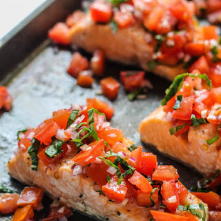 Roasted Salmon with Tomato Basil Relish.