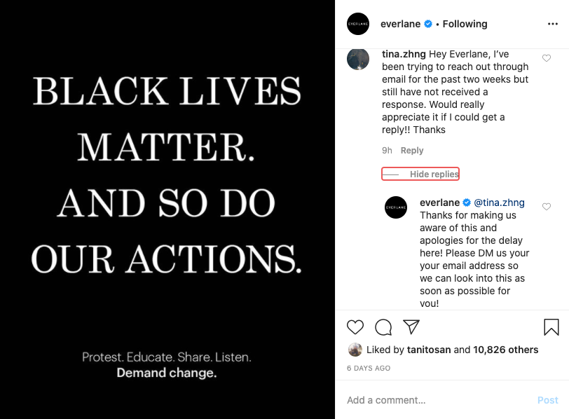 Everlane responding to Black Lives Matter questions on social media