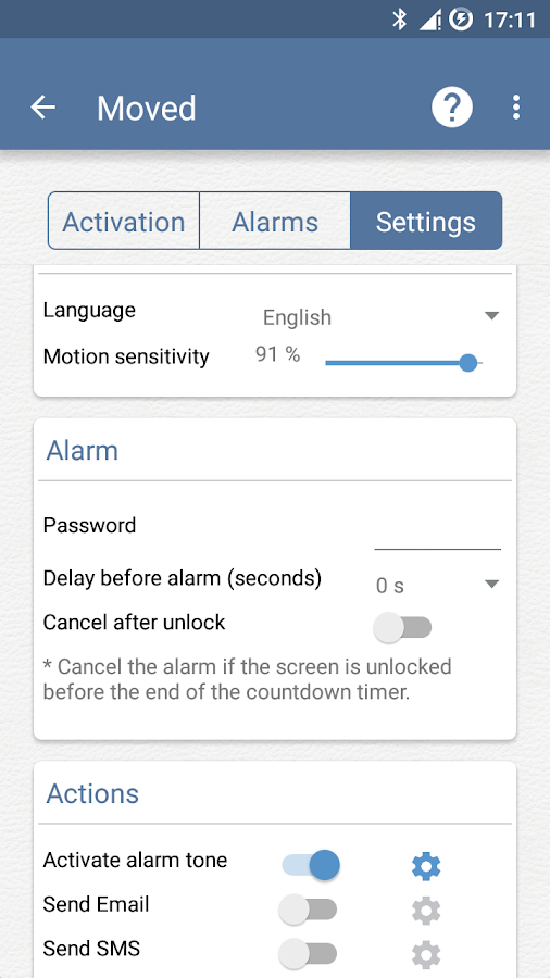 Moved- Anti theft motion alarm- screenshot