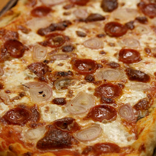 Pepperoni Pizza with Shallots and Red Pepper