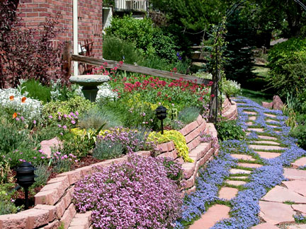 garden with various colorful flowers, a stone path, and a fountain