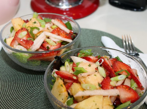 To serve – place a cup of spring salad mix blend in each bowl,...