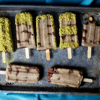 Banana, Nutella and Salted Pistachio Popsicles.
