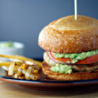 Chicken Burgers with Avocado-Tomatillo Sauce