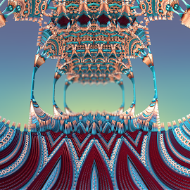 Bridge to Nowhere by Glenda Popielarski - Illustration Abstract & Patterns ( mandelbulb3d, aqua, blue, mandelbulb, fractal, abstract, bridge, maroon, digital art )