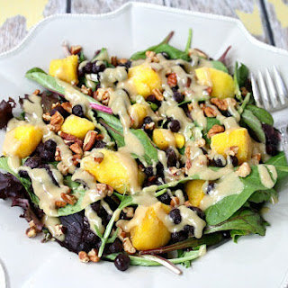 Blueberry Mango Salad with Tahini Ginger Dressing (Vegetarian, Gluten-Free, Dairy-Free, Paleo-Friendly, No Refined Sugar).