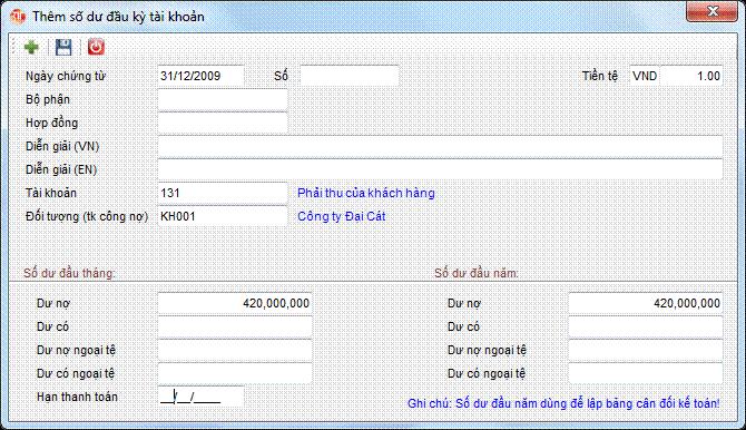 Số dư đầu kỳ tài khoản phần mềm kế toán 3tsoft