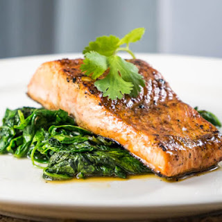 Seared Worcestershire Salmon with Wilted Spinach