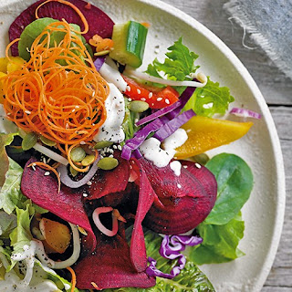 Over the Rainbow Salad with Tahini and Lemon Dressing