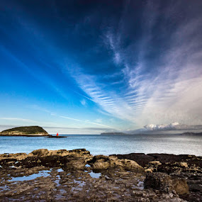 Sky Feathers by Mike Shields - Landscapes Beaches ( clouds, blue sky, sky, sea, rocks, puffin island )