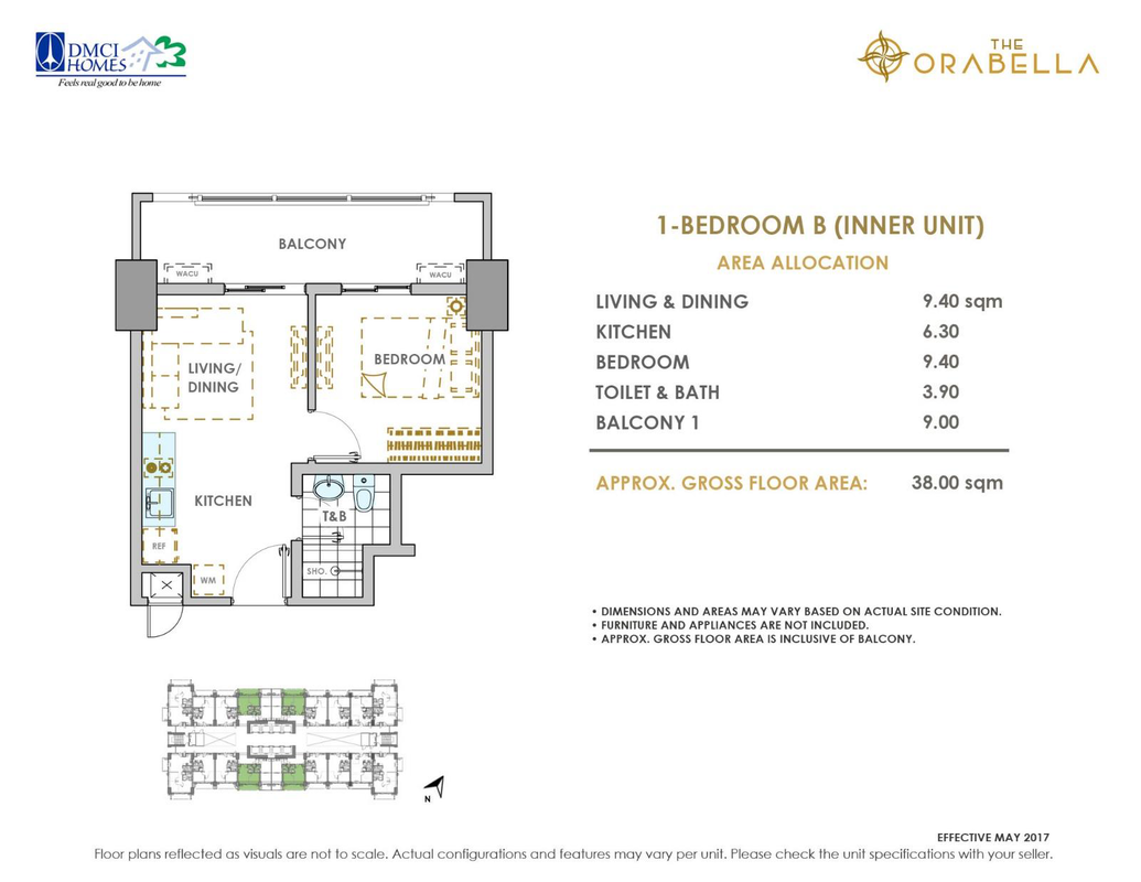 The Orabella, Quezon City 1 bedroom unit plan