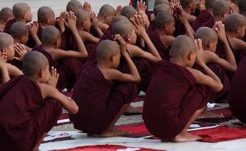 Photo: Year 2 Day 56 - Monks Worshipping at the Stupa of Lawkananda Pagoda