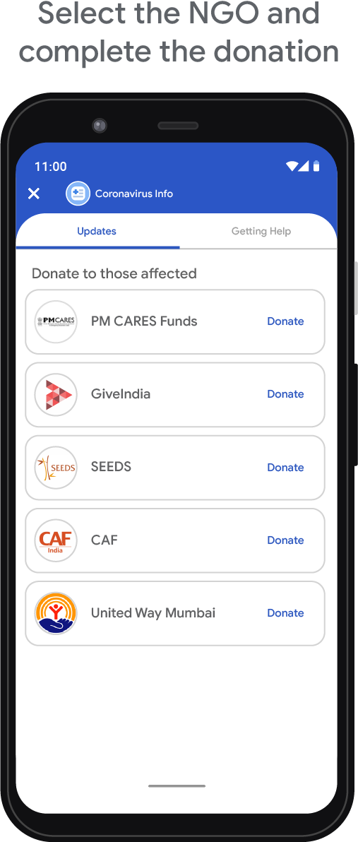 Step 3 - Select the NGO and complete the donation