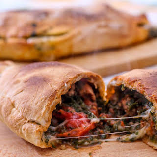 Calzone With Spinach And Meatloaf.