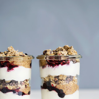Layered Yoghurt Jars With Homemade Almond Butter & Oat Granola.