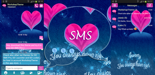 Pink Blue Theme GO SMS Pro - Apps on Google Play