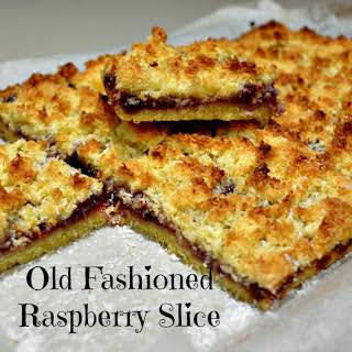 Raspberry Jam Coconut Slice.