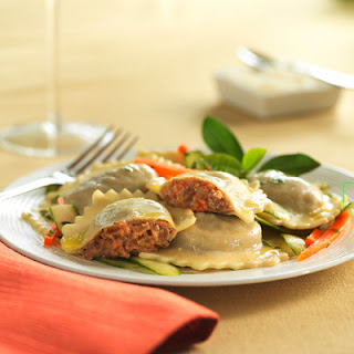 Spicy Beef & Sausage Ravioli with Zucchini and Peppers.