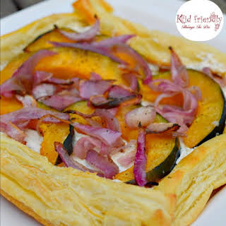 Garlic & Herb Cheese and Acorn Squash Puff Pastry Appetizer.