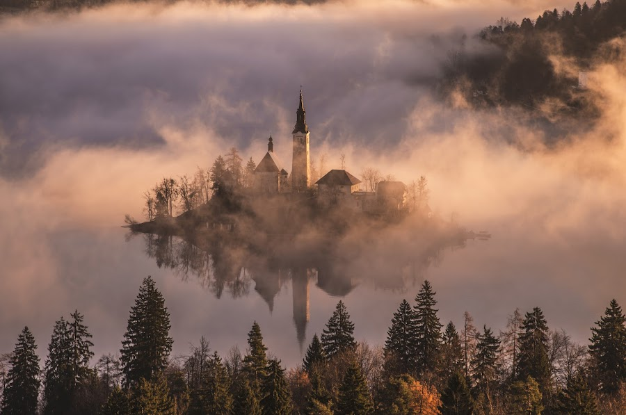 Church on the Island in Mist Sunrise by Aleš Krivec - Buildings & Architecture Places of Worship ( water, mountains, foggy, winter, window, bled, lake, castle, mist )