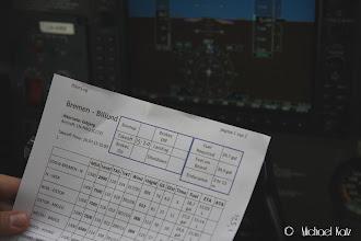 Photo: Navigasjonsplanen fra Bremen til BIllund (laget i SkyDemon).