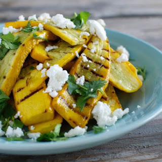 Grilled Yellow Squash with Feta and Cilantro.