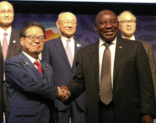 Growth on agenda: President Cyril Ramaphosa shakes hands with Japan Economy, Trade and Industry Minister Hiroshige Seko in Sandton on Thursday. Picture: JAPAN MINISTRY OF ECONOMY, TRADE AND INDUSTRY