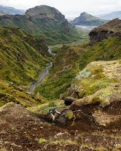 Photo: Climbing out of the Þórsmörk valley on our way to Skogar