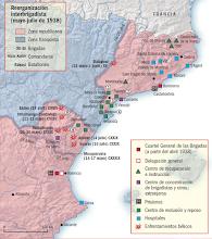 Photo: Mapa con la reorganización interbrigadista de mayo-julio de 1938. Foto: Wikimedia Commons