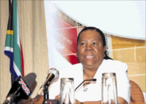 TRACKING MECHANISM: Minister of Education Naledi Pandor addresses the media in Pretoria yesterday. Pic. Peggy Nkomo. 29/09/08. © Sowetan.