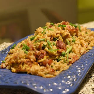"""""""Duck Sauce""""-glazed Bacon and Egg Fried Rice."""