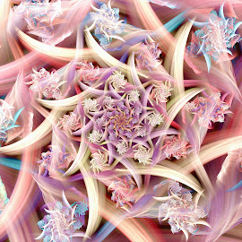 Pastel Spiky Spiral by Peggi Wolfe - Illustration Abstract & Patterns ( digital, gift, color, wolfepaw, bright, pattern, spiral, abstract, décor, print, pastel, spiky, unique, fractal, illustration, unusual, fun )