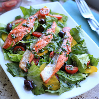 Grilled Salmon salad with Romaine and yellow beets.