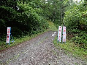 林道入口(中央左に登山口)