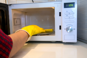 Wiping the Office Microwave